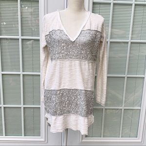Free People Sequin Rugby V-Neck Sweater Tunic